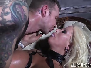 He makes his slave Alura Jenson swallow his devoted sperm