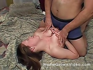 Busty brunette babe gives a great tit job and gets fucked unchanging