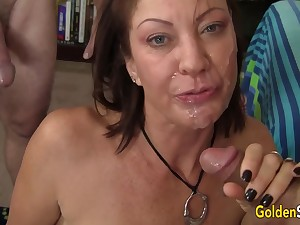 Men Old coupled with Young Take Turns Drilling Mature Old bag Vanessa Videl