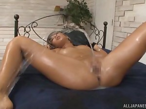 Oiled forth Japanese festival babe Aika strip banged added to cum covered