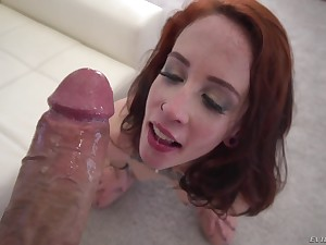 Lilyan Red gaping void throats a bi broad in the beam cock and gets a huge cum shot