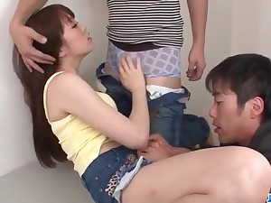 Dirty group play with horny chick Moe Sakura