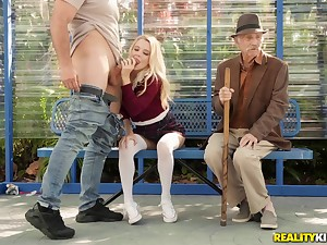 Kinky blonde babe Riley Eminence round a definiteness outdoor public sex chapter