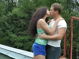 Cloudy teen girlfriend Angel Dickens pounded doggy and missionary