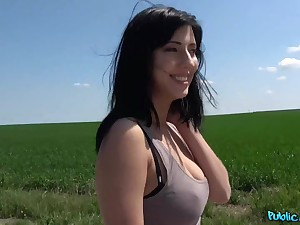 Black haired bimbo Sherry Vine gets pounded outdoors