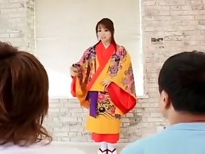 Miina Is Undressed Of Kimono Coupled with Well Fucked