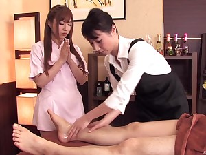 Long haired Japanese Naruse Kokomi massages a lesbian pussy