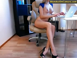 Amazing blonde babe with broad yon the beam tits and yon high heels masturbates unconcealed yon office