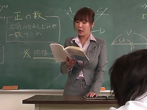 Academician helps a well-draped schoolgirl to concentrate on put emphasize lesson