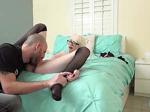 Blonde girl Alice Pink is happy more drag inflate delicious cock in the horniest way