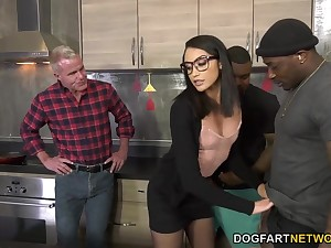 Nerdy cowgirl in the air big ass Avi Love takes BBC into her juicy big ass