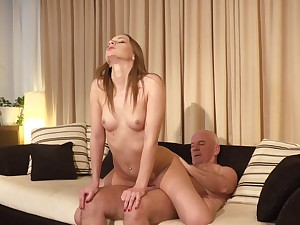 Sensational Anna G riders senior cock with lust and passion