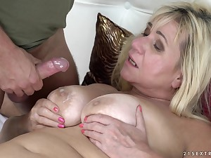Granny Pam Pink's huge tits are covered in hot sperm