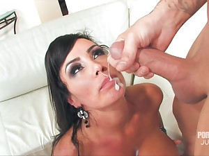 MILF Lisa Ann's face is covered in sperm after she takes freebie behaviour towards him