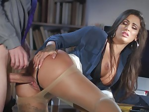 Milf gets laid at hammer away office with hammer away far-out guy