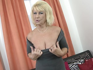 Blonde MILF Regina T. shows her tits before he fingers added to fucks her