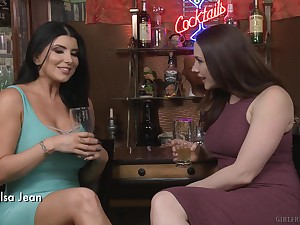 Long haired of a male effeminate brunette MILF porn stars Romi Rain and Kate Kennedy