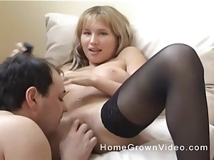 Handsome blonde in stockings has will not hear of pussy licked by will not hear of boyfriend