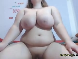 Fat babe making out her pussy on webcam and enjoying it