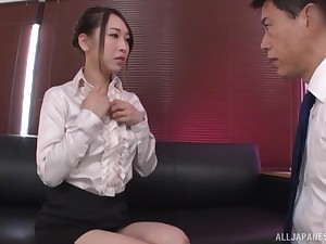 Oiled up Japanese in erotic lingerie Kase Kanako rides at the office