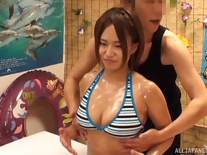 Sensual wealthy massage for busty oiled up Japanese bombshell tot