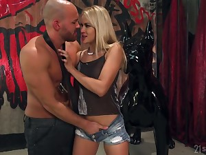 Bald compelled man fucks juicy anus of bootiful white-headed babe Reddish Kiss