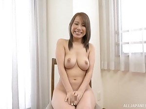 Gorgeous natural tits on Japanese Kitagawa Eria bounce as she sucks