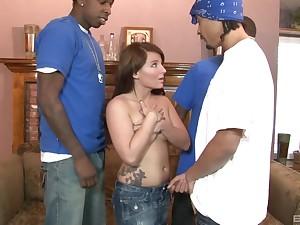 Three well hung black dudes deracinate Casey Cumz's holes