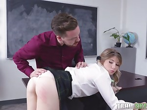 This frisky hot coed wants her teacher's cock and she depths survive nowadays