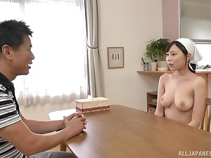 Busty Japanese maid Shiraishi Rin wants cum in the sky her huge tits