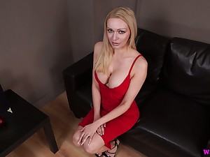 Lady in red Amber Jayne jerks off dick added to takes cumshots exceeding her fake boobs
