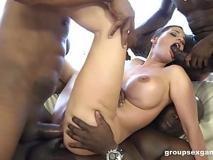 Double anal perspicaciousness for Cathy Vault of heaven by big black dicks