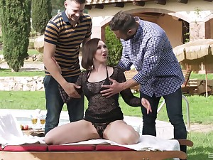 Mature brunette beauty Yasmin Scott pounded by two guys out of the closet