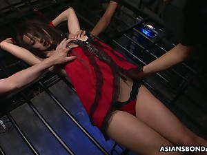 Svelte Asian bondage bungle Yayoi Yanagida gets jugs sucked and mouth fucked