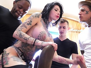 Interracial gangbang gets Megan Inky all embarrassing with cum