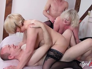 Grannies in a hardcore foursome exalt hard dick