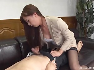 Japanese babe in lingerie rides and sucks cock in the office