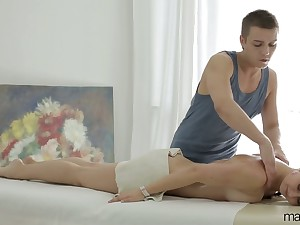 Young masseur fucks anus and wet pussy for Russian client Vika Volkova