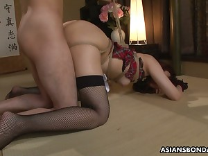 Tied up Japanese unshaded Sayumi Matsushita gets her holes fucked