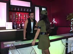 Handjob, blowjob and a sermonizer fuck with Alexis Silver in a uniform