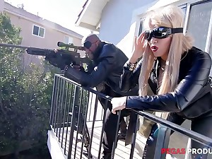 Two Canadian busty whores in latex outfits are fucked by esurient BBC