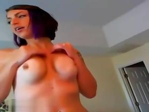 Big Tit Brunette Delights In Giving Blowjob