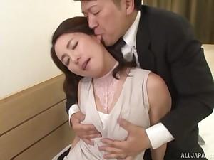 Beautiful female lead Mizuno Yuuka ramming friend's sticky penis while she moans