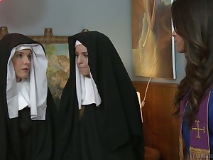 Sinful nuns get nasty and enjoy having prankish passionate lesbian sex