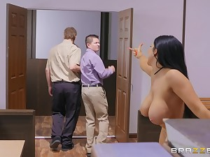 Young lad fucks the busty wife in insane modes