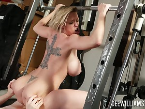 Busty milf tries to keep herself forth shape by fucking everywhere the trainer