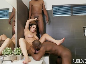 Erotic fantasy with two black dudes when divest in eradicate affect bathroom