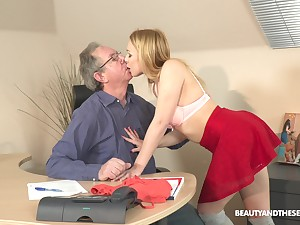 Snake-hipped fresh and natural face haired trull Rebecca Black is fucked by older pervert
