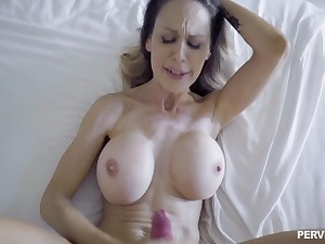 Proper MILf lands proper cock in her shaved little holes