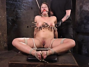 Holly Heart is tied in the basement waiting for a new sex undergo